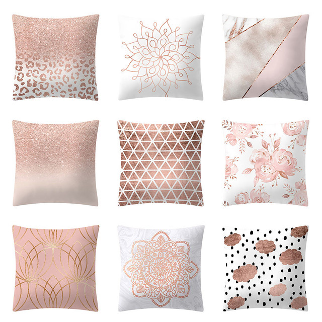 Geometric Pillow Case Rose Gold Pink Cushion Cover Square Geometry Interesting Rose Gold Decorative Pillows