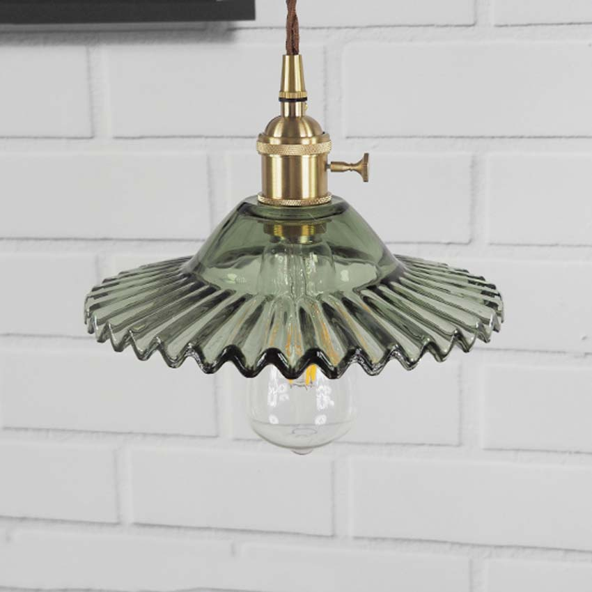 Nordic simple galss hanging lamp dia 22cm green shade copper lampholder vintage pendant light with Knob switch for restaurant