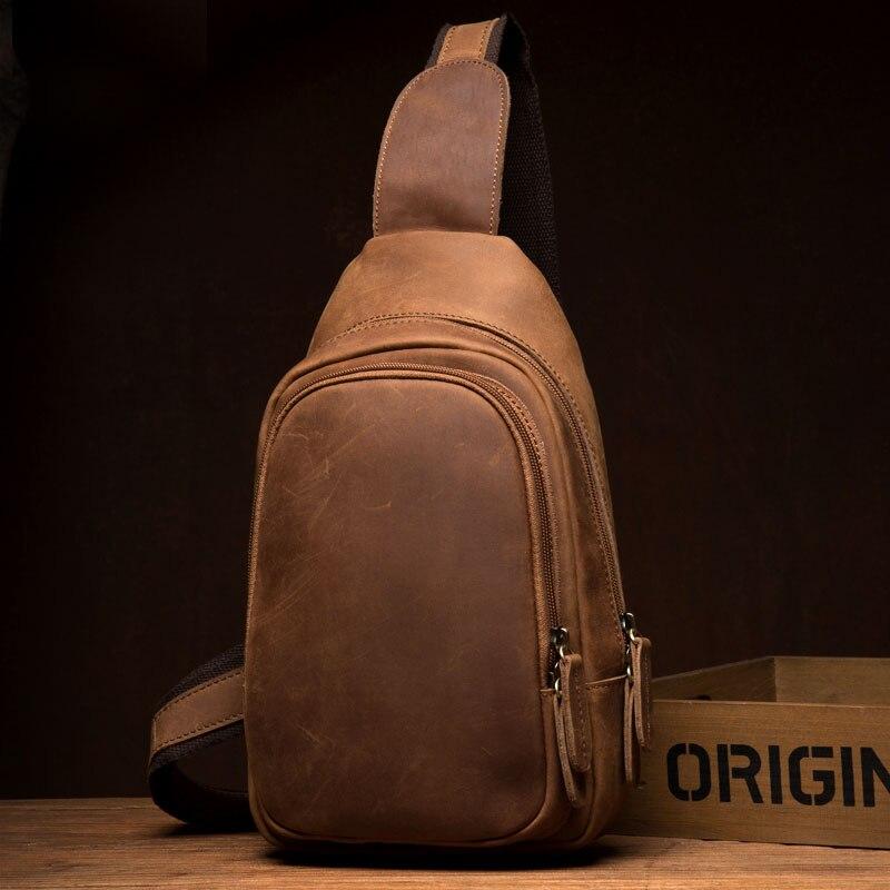 LAPOE Brand Men's Shoulder Bag Vintage Men Crossbody Bag Men Chest Bags Casual Vintage Genuine Leather Men Messenger Bag