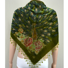 Women's Silk Velour Triangle Embroider Flower Shawl Scarf with Peacock New Fashi