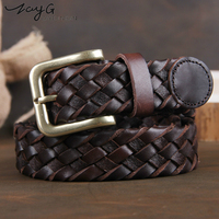 ZAYG Belt Men Fashion waist belts women belts luxury genuine leather braided Real Cow skin straps men Jeans Wide girdle Male