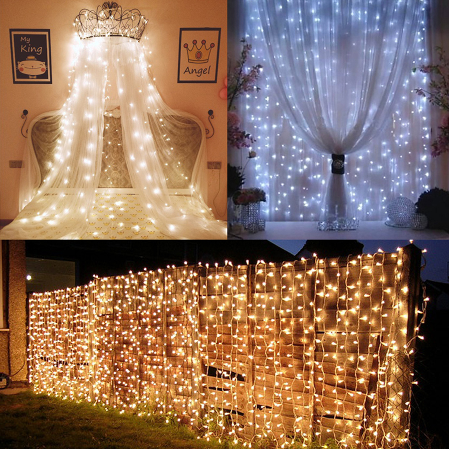 Thrisdar 3x1M 3x2M 3x3M 6x3M Outdoor Curtain Icicle LED String Light 8 Mode Garden Patio Window Wedding Holiday Icicle Garland