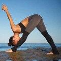 Новая Мода Женщин спортивные леггинсы push up цвет блока лоскутное украшения фитнес леггинсы Эластичный тренировки брюки леггинсы