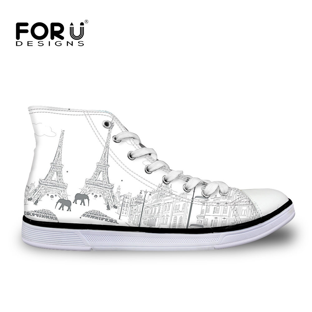 FORUDESIGNS Fashion Hand Painted Women High Top Canvas Shoes Female Casual Vulcanized Shoes Students Flats Teens Girls Flat Shoe forudesigns women fashion high top flats shoes cool skull design female height increasing platform shoes for teenage girls shoes
