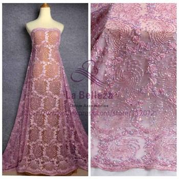 "La Belleza New 1 yard super heavy handmde beaded baby pink evening dress lace fabric 47"" width"