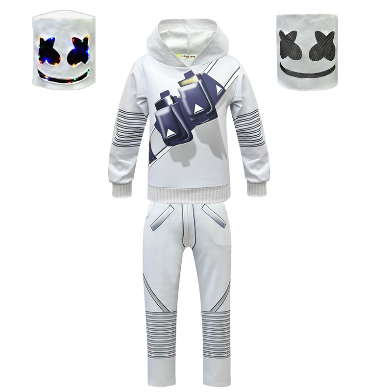 DJ Marshmello Cosplay Costume Kids Halloween Fancy Party Dress LED Marshmello DJ Mask  Sweater Coat Music Fans Bars Prop