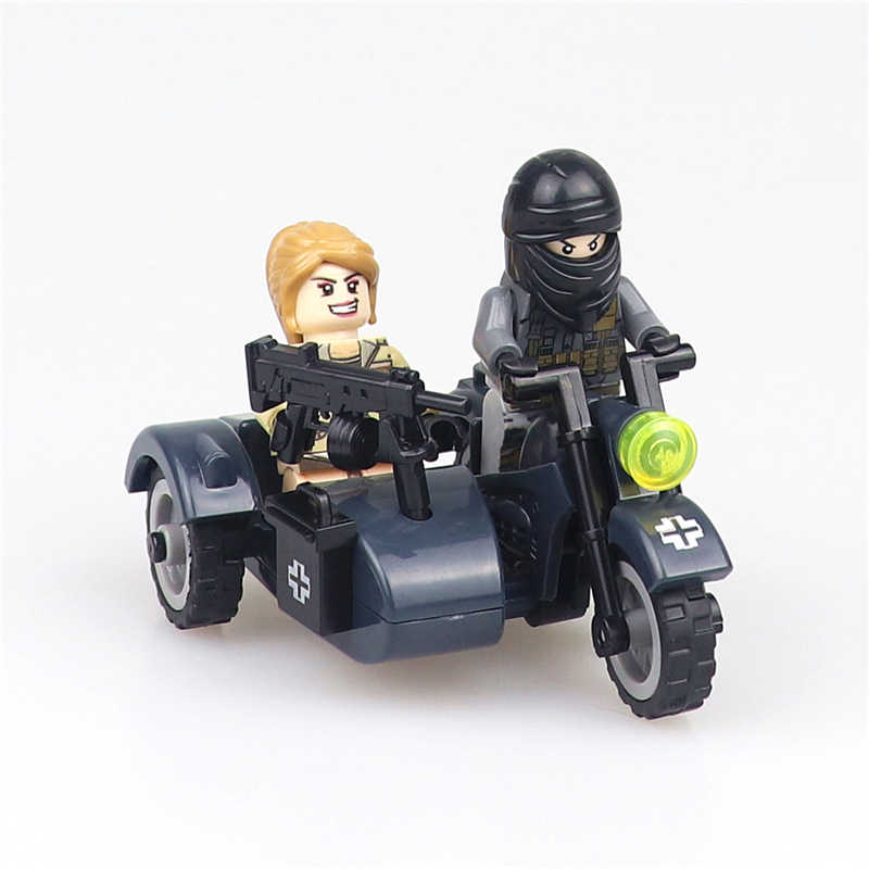 MOC Military Vehicles Model Germany WW2 Motorcycle Compatible LegoINGlys City Police World War 2 Army Figures Bricks Parts Toys