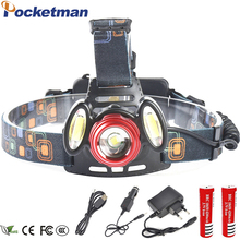 3800 lumens rechargeable led headlamp T6 head flashlight torch cree xml t6 + 2COB head lamp waterproof headlight 18650 battery dwz black 2000lm xml t6 led rechargeable head lamp front bicycle cycling headlight