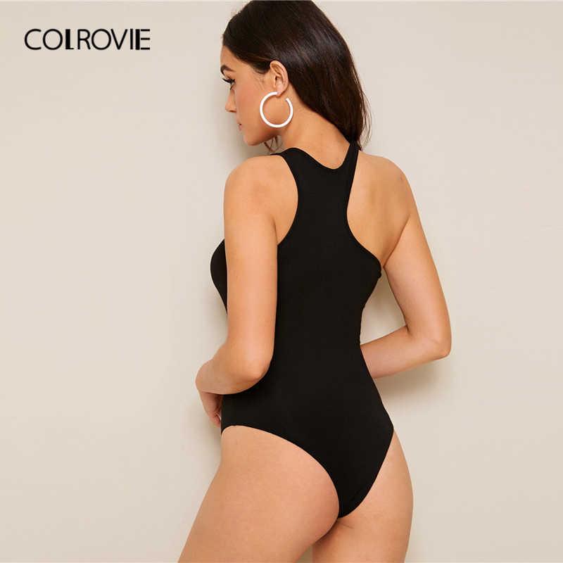 COLROVIE черный сплошной Асимметричный вырез облегающий клубный боди для женщин 2019 лето без рукавов сексуальные женские боди