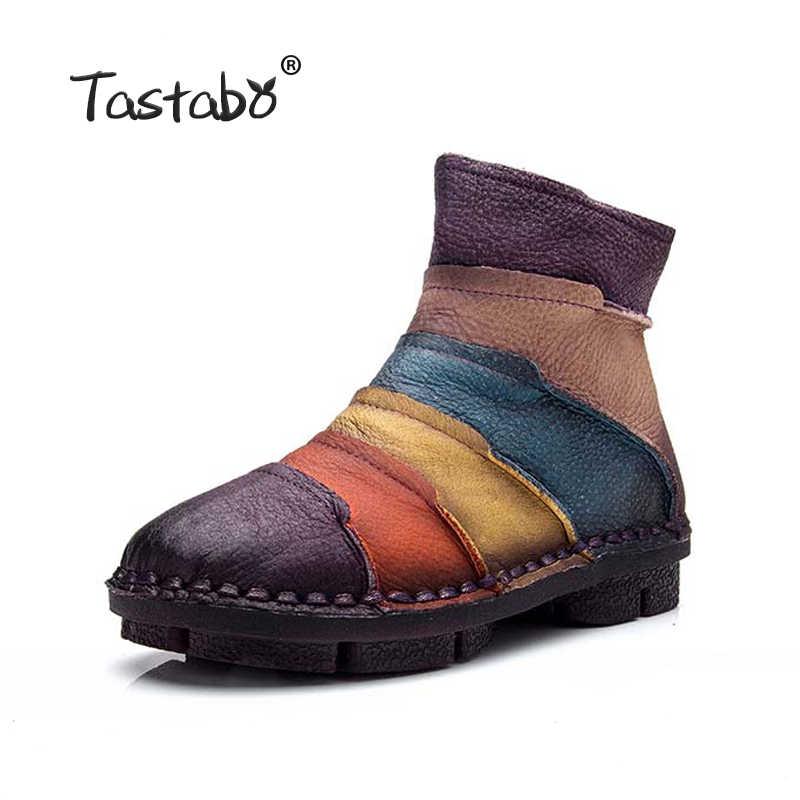 Tastabo Martin Çizmeler Hakiki Deri Ayak Bileği Ayakkabı Bağbozumu rahat ayakkabılar Marka Tasarım Retro El Yapımı Artı Boyutu Kadın Botları