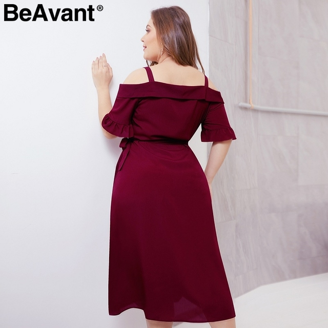 BeAvant Elegant cold shoulder plus size dress women V neck short sleeve summer dresses Casual wrap midi ladies dresses vestidos 2