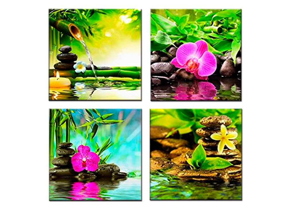 4 panel Bamboo Black Spa Zen Stone Pictures Prints on Canvas Walls Art Work Modern Wall Artwork