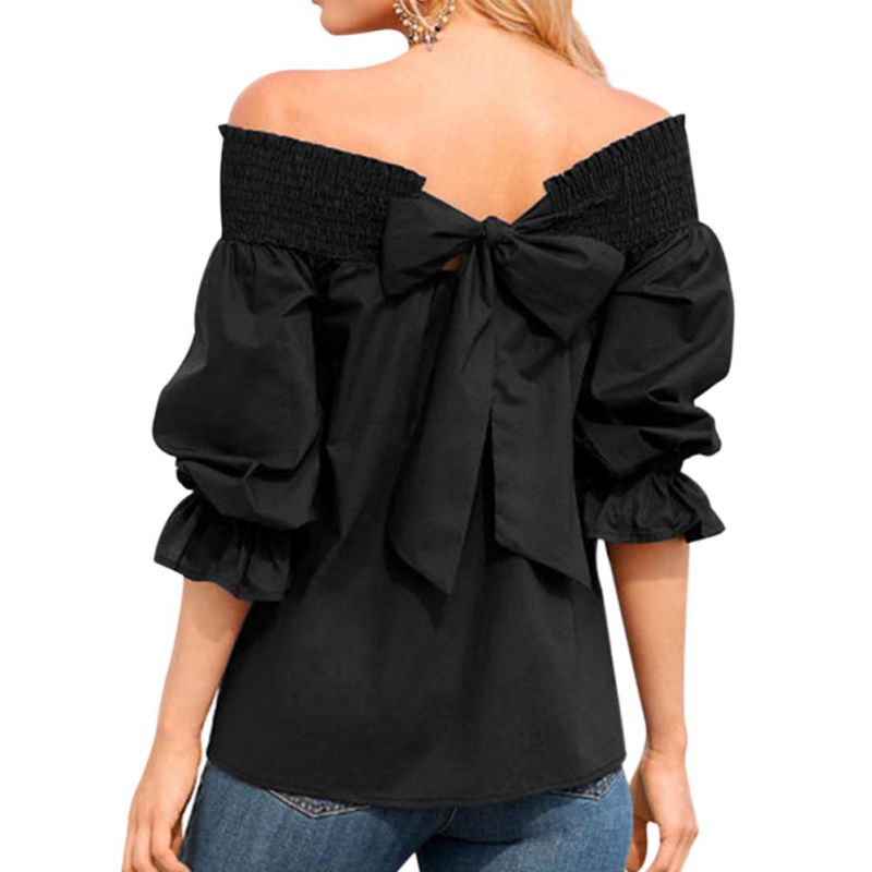 Women Solid T-Shirts Female T-Shirts Summer Off Shoulder Women Tops Sexy 3/4 Sleeve Slash Neck Back Bow Shirts 2018
