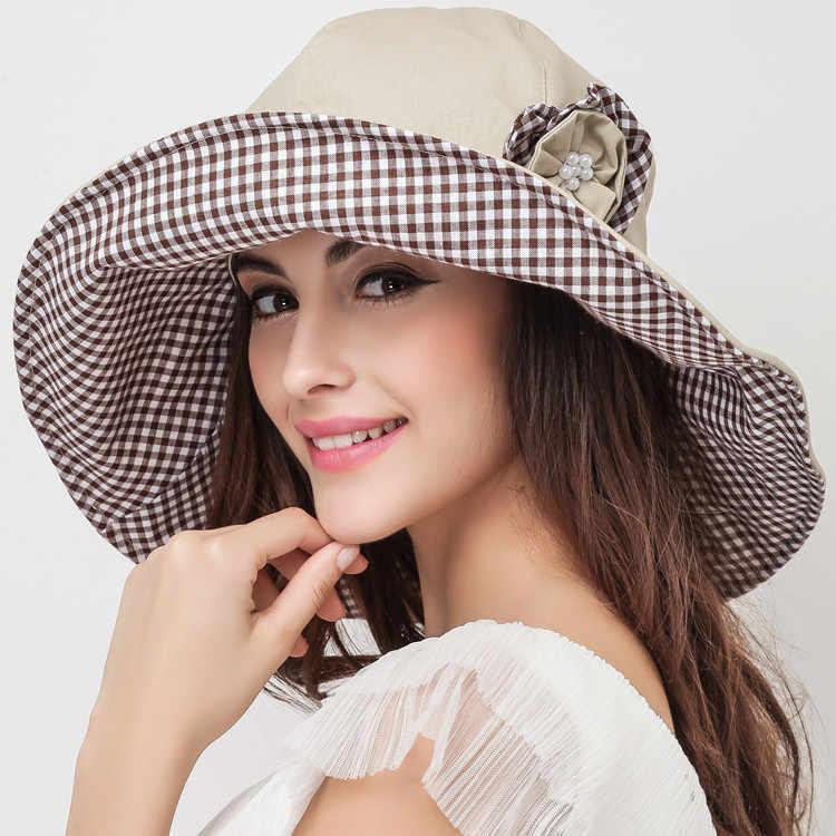 Новое поступление летняя Солнцезащитная шляпа Женская Складная с широкими