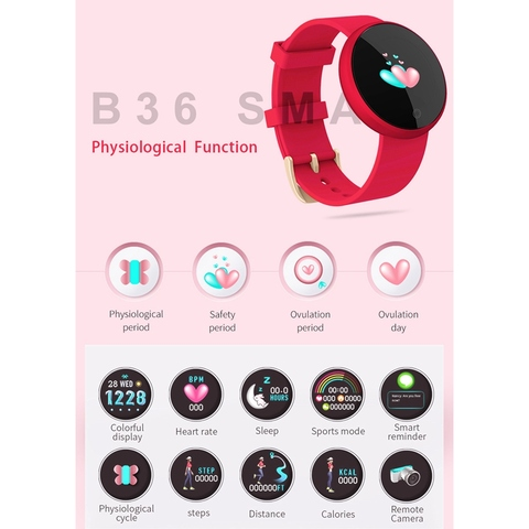 B36 Women Smart Watch Top Heart Rate Female Period Reminder Smartwatch Ladies Wrist Sport Smartwatch For IPhone Samsung Huawei Lahore