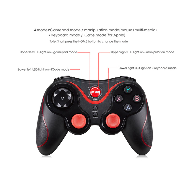 Terios S3 Bluetooth Gamepad for Android Wireless Joystick Gaming Controller Black for Android Smartphone Android Tv Box