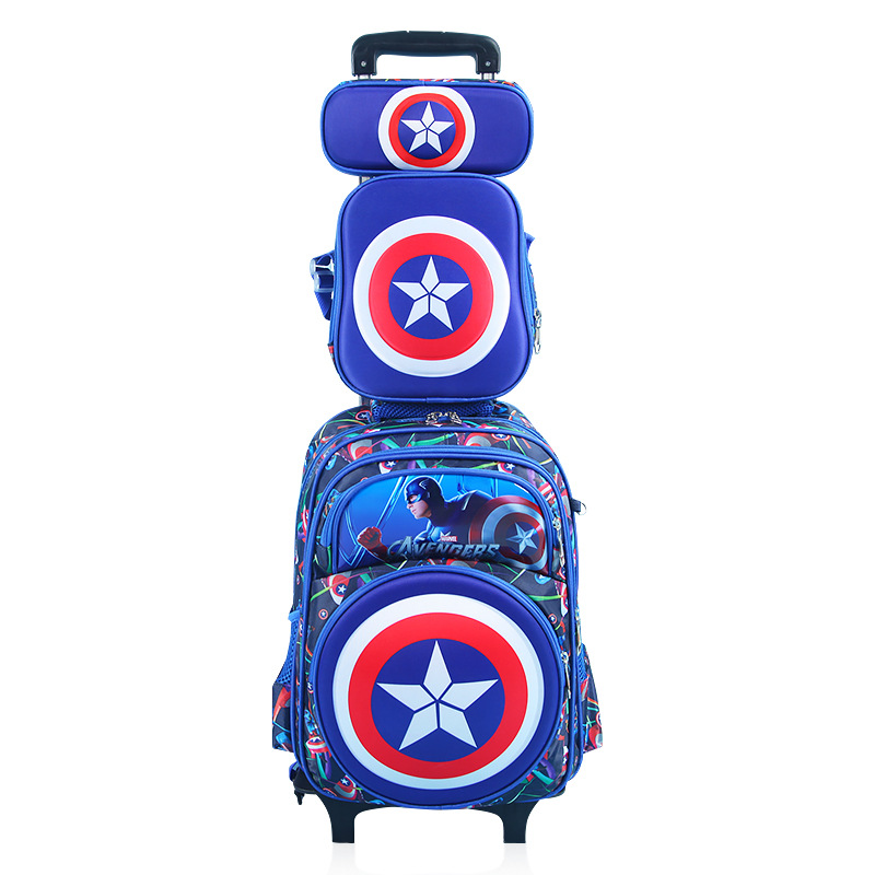 HOT 4PCS/SET Climb The Stairs School Bag Cartoon Captain America Students Suitcase Children Luggage Travel Backpack Pencil Case