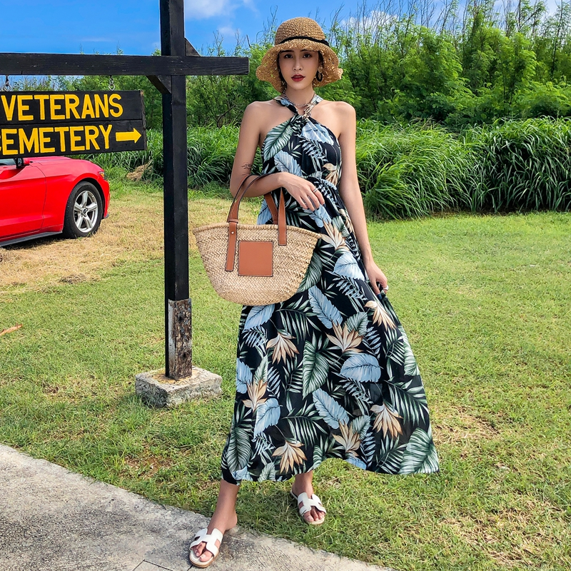 NEW Fashion women Summer Bohemia Beach style Green Plant Leaf Print sexy Backless Ankle Length Halter Strapless dress in Dresses from Women 39 s Clothing