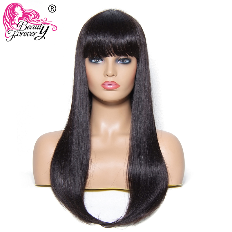 BEAUTY FOREVER Straight Hair Wigs Brazilian Remy Hair Human Hair Wig With Bang 22inch Machine Made Natural Color