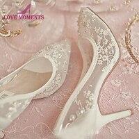 2018 Новые Дизайнерские летние женские тонкие туфли Корейский стиль высокий каблук кружева сетки Свадебные модельные туфли 3 дюйм(ов) День ро