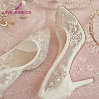 2018 New Designer Summer Women Single Shoes Korean Style High Heel Lace Mesh Wedding Dress Shoes 3 Inches Birthday Party Pumps