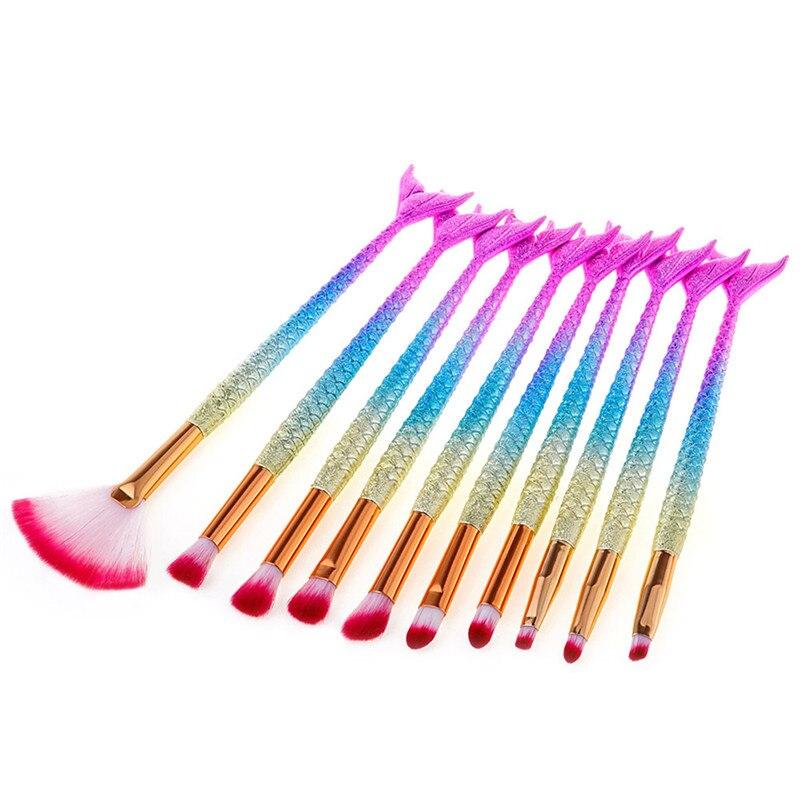 5/6/10Pcs Pro Rainbow Makeup Brushes Mascara Wands Eyelash Eyeshadow Concealer Lip Brush Beauty Fish Tail Mermaid Brush