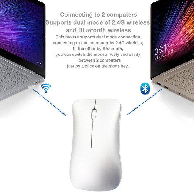 Cliry Dual Mode Aluminum Alloy Wireless 2.4Ghz+Bluetooth 4.0 Mouse Ultra-thin Recharge Portable High Class Optical Mice for Mac
