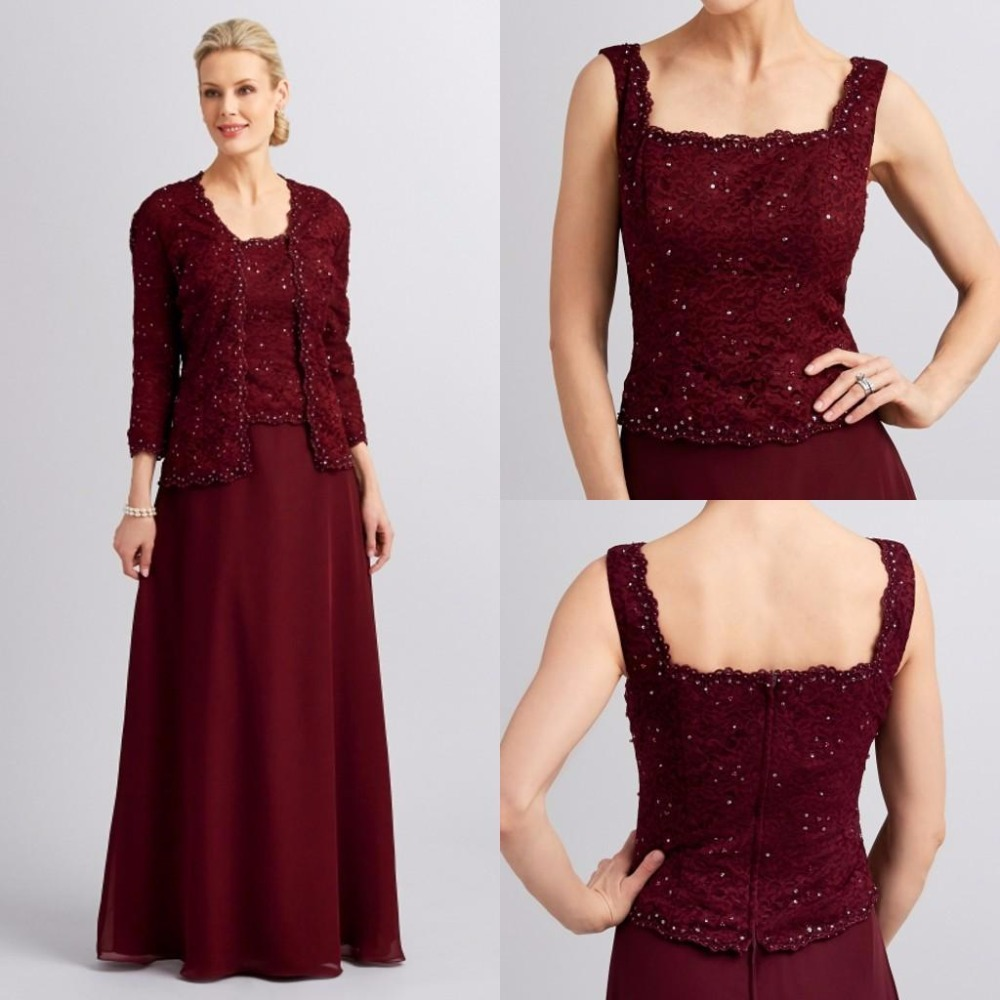 Hot Mother Of the Bride Dresses Square Neck Burgundy Chiffon With ...
