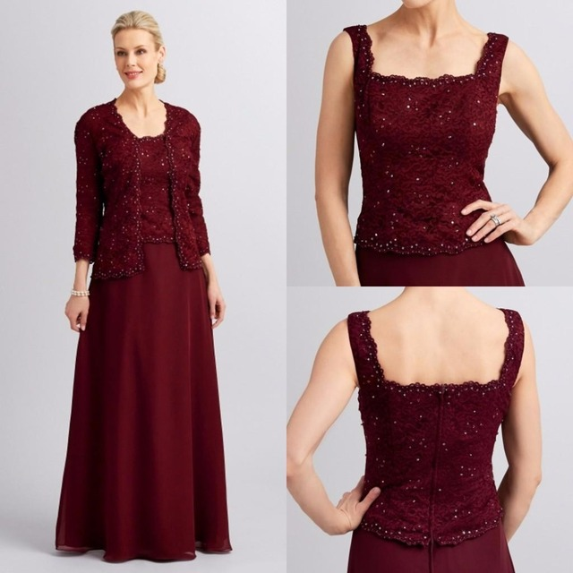 Hot Mother Of The Bride Dresses Square Neck Burgundy Chiffon With Long Sleeves Jacket Wedding Party