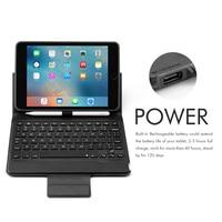 mini wireless bluetooth 4.0 Bluetooth Wireless Keyboard Case for iPad Mini 5/iPad mini 4, Premium PU Leather Folio Flip Cover with 7 color blacklight (3)