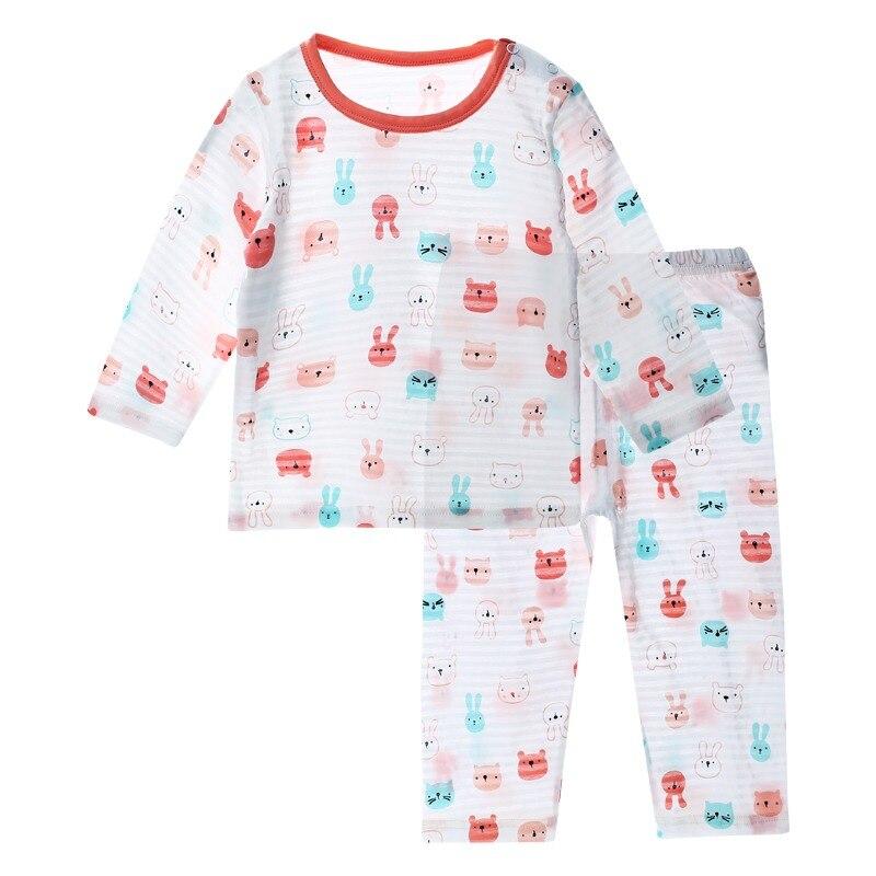 17df1592633340 Cienkie letnie piżamy dzieci ustawia pidżama z długim rękawem zestaw  chłopców ubrania dla dzieci piżamy bawełniane
