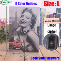 Size L 9/Color Combination Lock Hidden Password Safe Box Steel Simulation Book Home Office Money Jewelry Phone Safe Storage Box
