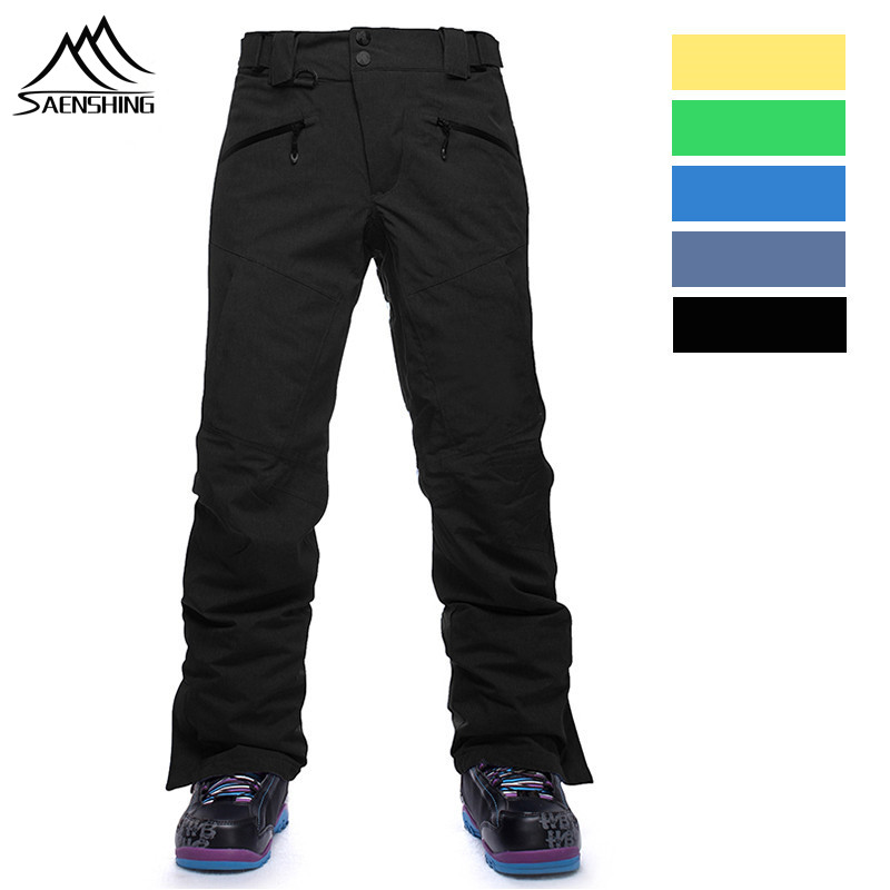 SAENSHING Winter Thicken thermal Ski Pants Men outdoor Snowboard trousers Hiking Snow Trousers Waterproof Breathable plus size