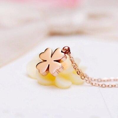 YUN RUO Moderna snygga fyrklöver halsband kvinna smycken titan stål - Märkessmycken - Foto 4
