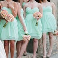 Cute Short Light Green Bridesmaid Dresses 2016 Empire Chiffon Cheap Bridesmaid Dress Pleat Sexy Strapless Bridesmaid Gowns B76