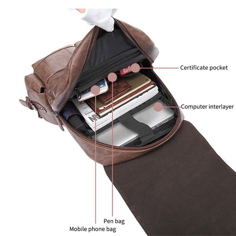 WILIAMGANU décontracté hommes sac à dos en cuir PU cartable de haute qualité sac de voyage Designer sac à dos homme ordinateur portable sac d'école pour adolescent - 6