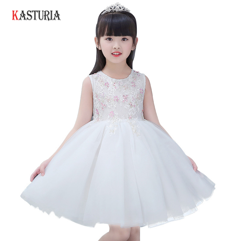 New children's Princess Dresses for girls white lace girls dress high quality girl clothes floral kids dress wedding party dress 2017 new high quality girls children white color princess dress kids baby birthday wedding party lace dress with bow knot design