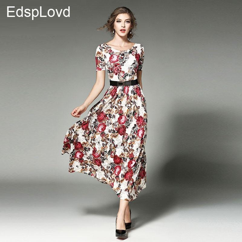 EdspLovd New Design Women High Quality Elegant O-neck Lace Flral Long Dess Slim Thin Waist Short Sleeve Summer Dress DS208
