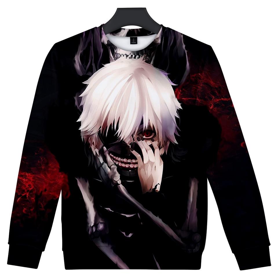 2018 Autumn New Fashion Women And Men 3d Hoodies Anime Tokyo Ghoul Ken Kaneki print Cool Sweatshirts casual Tracksuit XXS-4XL