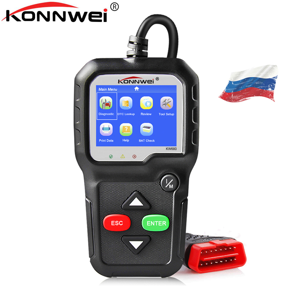 ODB2 KONNWEI KW680 автомобиля диагностический инструмент OBD2 автомобильной сканер лучше AD410 двигателя Код ошибки чтения сканирования инструмент obd 2...