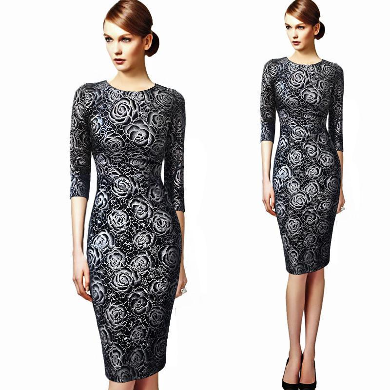 Womens Floral Print Vintage Bodycon Long Sleeve Dress Vestidos