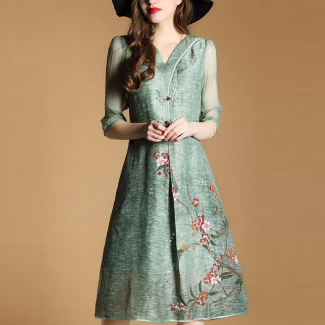 ac1514d4873 Chinese Style Dress For Women Plus Size Clothing 3XL 2018 New Fashion Print  Green Spring Summer Vintage Dresses Vestido QH0065