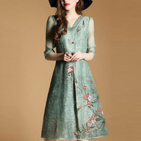 Chinese Style Dress For Women Plus Size Clothing 3XL 2017 New Fashion Print Green Spring Summer Vintage Dresses Vestido QH0065