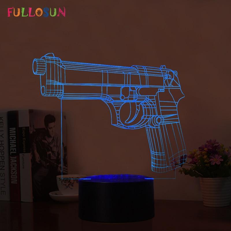 Fullosun Usb Led 3d Night Lights Pistol Amp Gun Model 3d