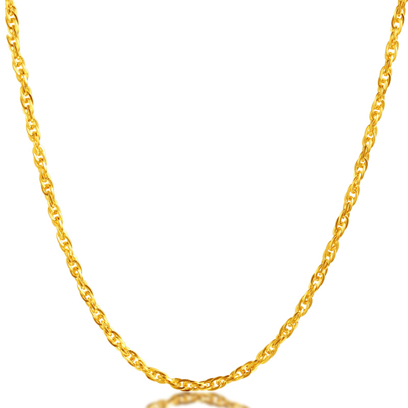 Image 3 - JJF 24K Pure Gold Necklace Real AU 999 Solid Gold Chain Brightly Simple Upscale Trendy Classic  Fine Jewelry Hot Sell New 2019-in Necklaces from Jewelry & Accessories