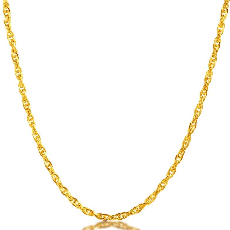 Takı ve Aksesuarları'ten Kolyeler'de JJF 24K Saf Altın Kolye Gerçek AU 999 Katı Altın Zincir Parlak Basit Lüks Moda Klasik Güzel Takı Sıcak satış Yeni 2019'da  Grup 3