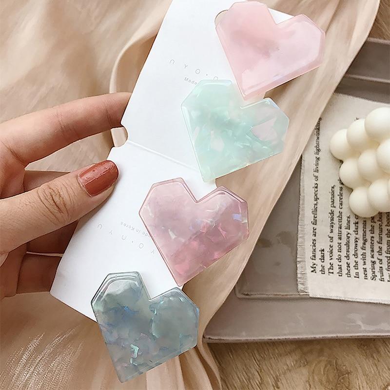 New Arrival Shell Heart Hair Clip For Women Korean Sweet Acrylic Love Hair Pins Barrette Hairpin Headdress Jewelry Accessories