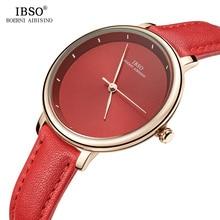 IBSO Новый бренд моды простой Для женщин часы 2018 красный ремень из натуральной кожи женские кварцевые часы Для женщин Водонепроницаемый Montre Femme