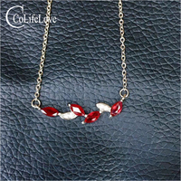 925 silver leaf necklace for girl 4 pcs natural garnet silver necklace sterling silver garnet jewelry gift for woman