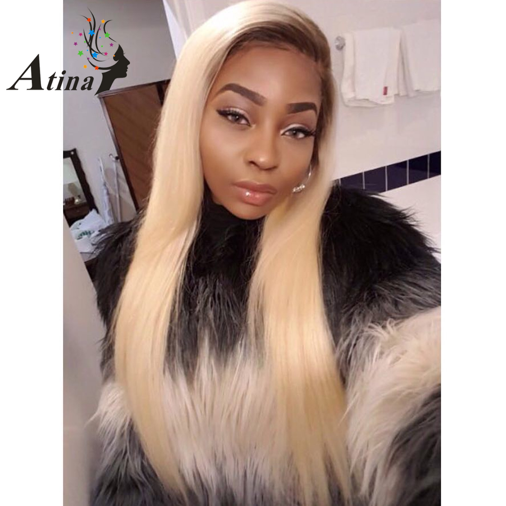 150 Density Ombre T4 613 Blonde Lace Front Wig Straight Remy Two Tone Dark Roots Blonde